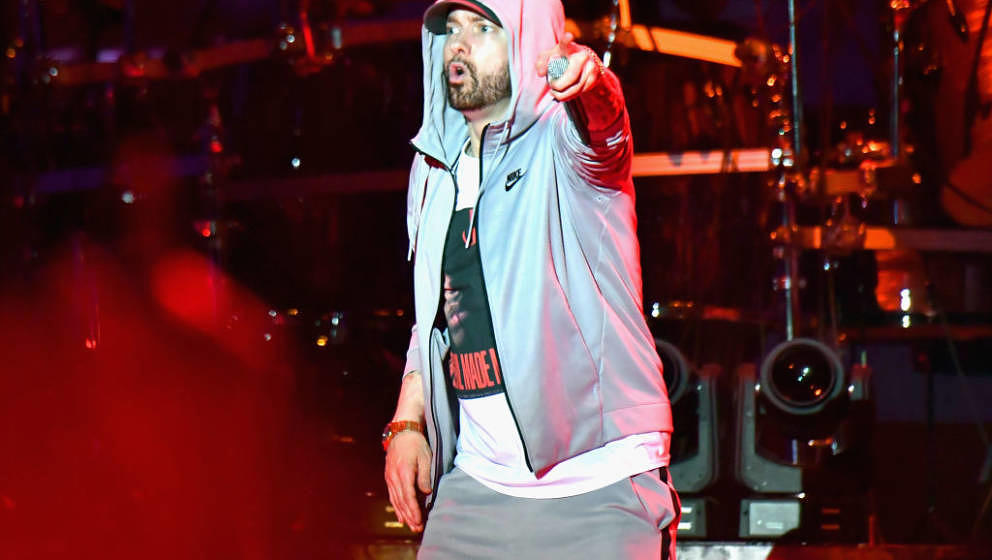 MANCHESTER, TN - JUNE 09:  Eminem performs on What Stage during day 3 of the 2018 Bonnaroo Arts And Music Festival on June 9,