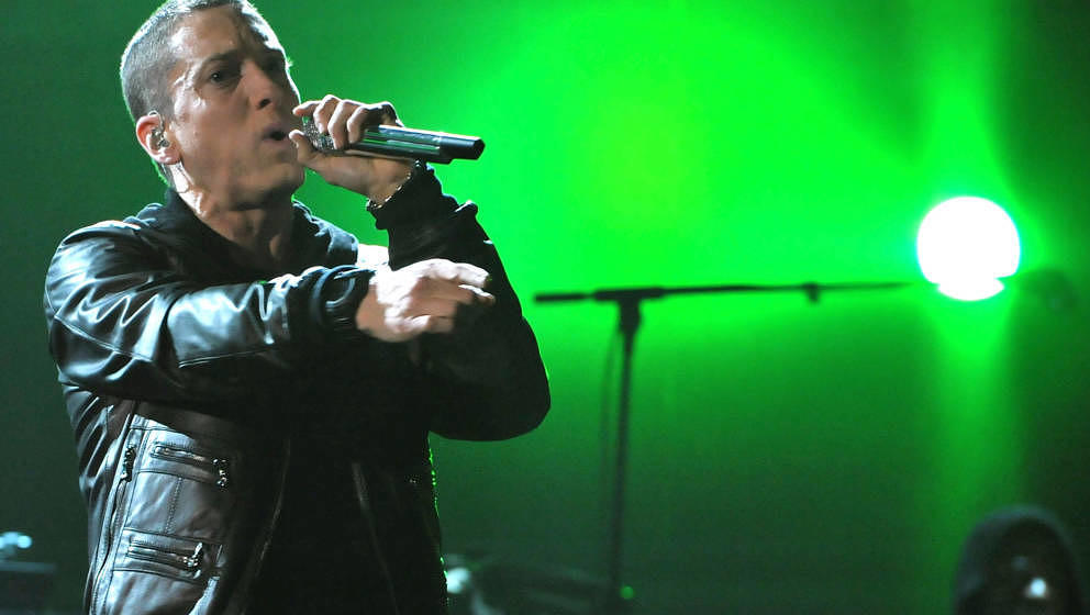 Rapper Eminem performs onstage during The 53rd Annual GRAMMY Awards held at Staples Center on February 13, 2011 in Los Angele