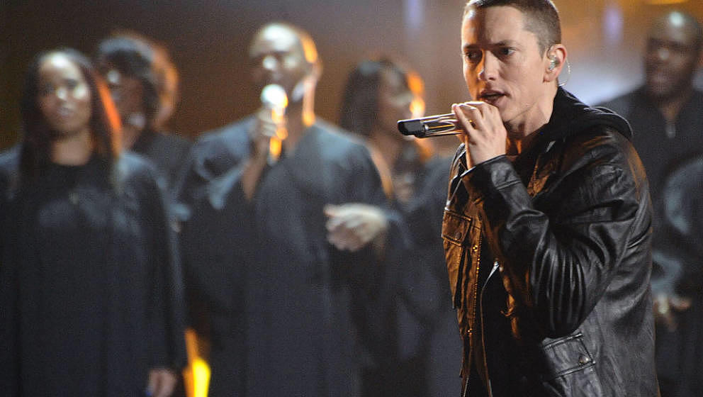 Eminem performs onstage during the 2010 BET Awards held at the Shrine Auditorium on June 27, 2010 in Los Angeles, California.