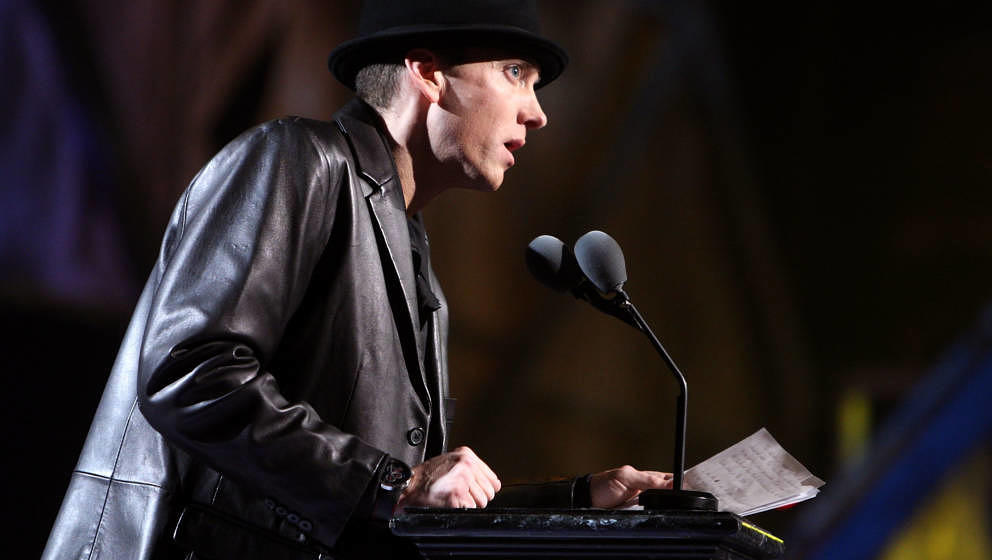 CLEVELAND - APRIL 04:  Presenter Eminem speaks onstage during the 24th Annual Rock and Roll Hall of Fame Induction Ceremony a