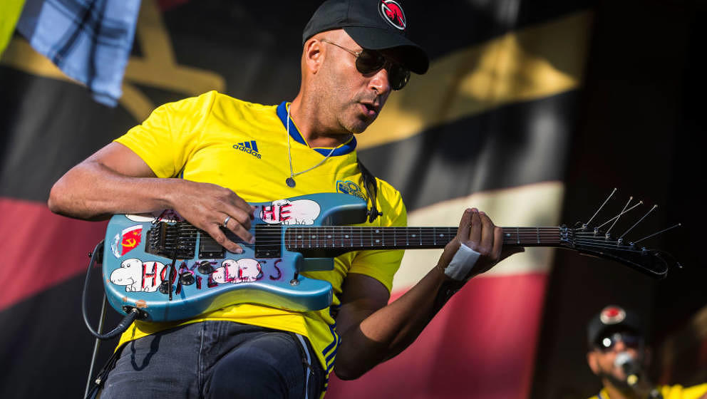 STOCKHOLM, SWEDEN - JUNE 26: Tom Morello of the band Prophets of Rage performs in concert at Grona Lund on June 26, 2018 in S