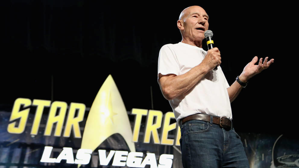 LAS VEGAS, NV - AUGUST 04:  Actor Sir Patrick Stewart speaks during the 17th annual official Star Trek convention at the Rio