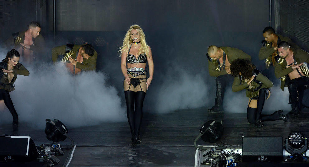 BRIGHTON, ENGLAND - AUGUST 04:  Britney Spears performs on stage during the Britney Spears 'Piece Of Me' Summer Tour - Bright