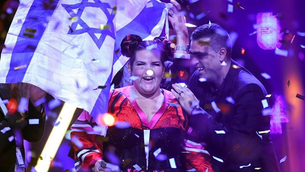 Israel's singer Netta Barzilai aka Netta performs after winning the final of the 63rd edition of the Eurovision Song Contest