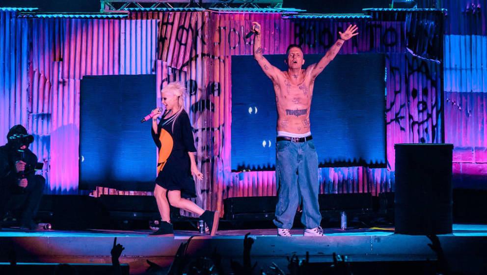 BERLIN, GERMANY - AUGUST 14: (L-R) Yolandi Visser and Ninja aka Watkin Tudor Jones of Die Antwoord perform live on stage at P