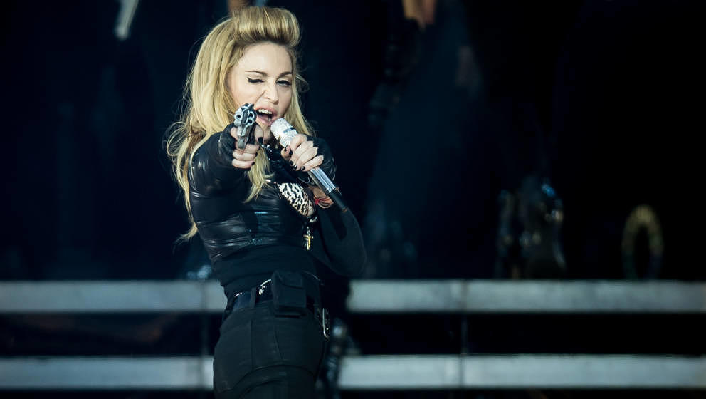 LONDON, ENGLAND - JULY 17: Madonna performs live during the MDNA tour at Hyde Park on July 17, 2012 in London, England.  (Pho