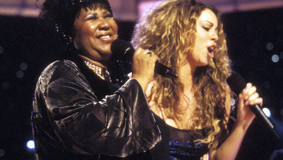 Aretha Franklin and Mariah Carey at the Beacon Theatre in New York City, New York (Photo by Kevin Mazur/WireImage)