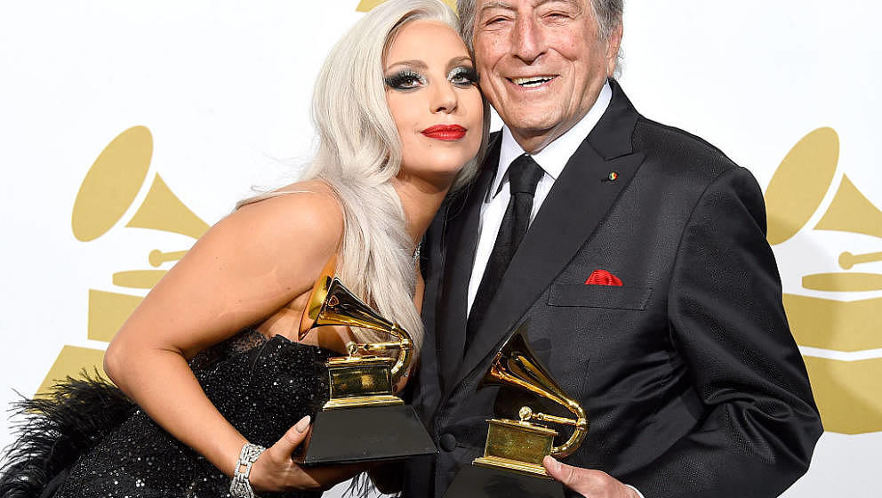 LOS ANGELES, CA - FEBRUARY 08:  Singers Lady Gaga (L) and Tony Bennett, winners of Best Traditional Pop Vocal Album for 'Chee