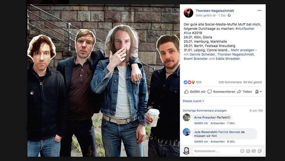 So kündigte Nagel die neuen Tourtermine von Muff Potter auf Facebook an