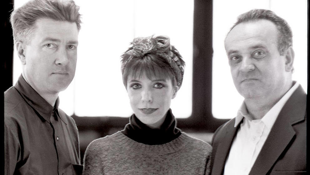 Portrait (from left to right) of David Lynch film and television director, Angelo Badalamenti composer and Julee Cruise singe