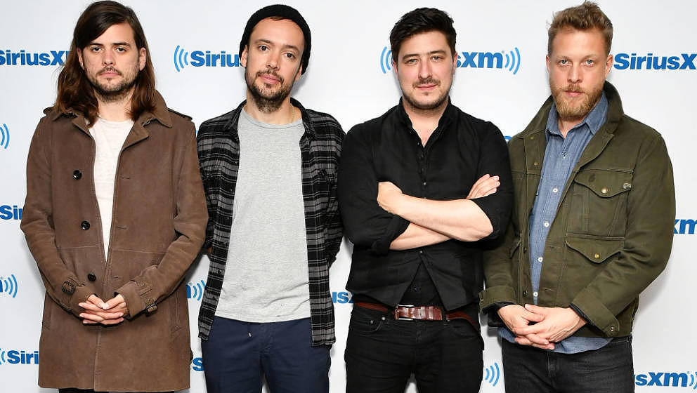 NEW YORK, NY - SEPTEMBER 26:  (EXCLUSIVE COVERAGE) (L-R) Winston Marshall, Ben Lovett, Marcus Mumford and Ted Dwane of band M