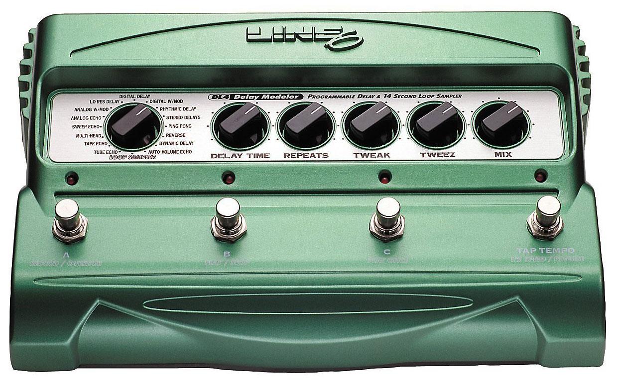 Mit dem DL4-Bodeneffekt von Line6 kann man schöne Echos und Delays entwickeln sowie Musik loopen.