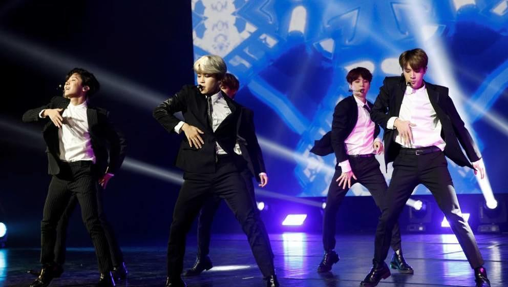 South Korean pop group BTS performs during a Korean cultural event as part of South Korean president official visit to France