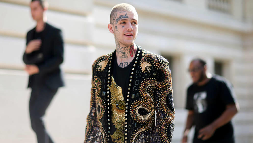 PARIS, FRANCE - JUNE 24: Lil Peep attends the Balmain Menswear Spring/Summer 2018 show as part of Paris Fashion Week on June