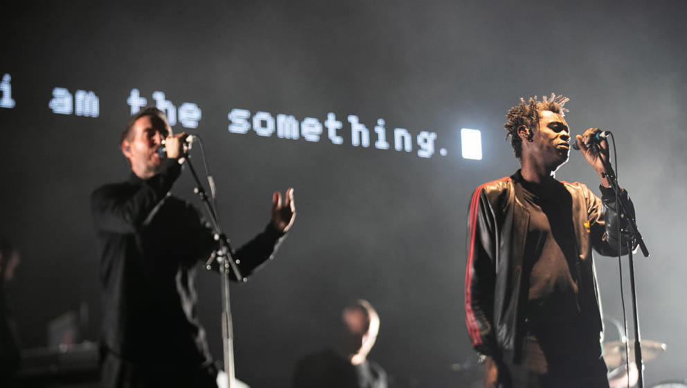 DUBLIN, IRELAND - SEPTEMBER 01:  Robert Del Naja (L) and Daddy G (R) of Massive Attack performs during Electric Picnic 2018 a