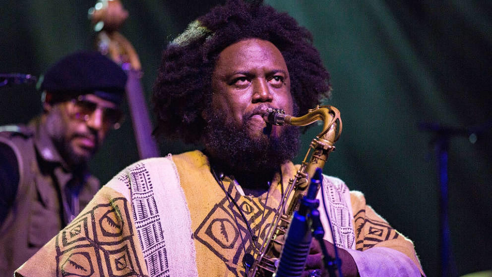 SAN DIEGO, CA - SEPTEMBER 23:  Musician Kamasi Washington performs on stage at Viejas Arena on September 23, 2018 in San Dieg