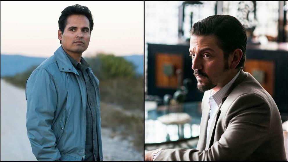 """Wollen beide ihre Organisation besser machen: DEA-Agent Kiki Camarena (Michael Pena) und Drogenboss Félix Gallardo (Diego Luna) in """"Narcos: Mexico"""""""