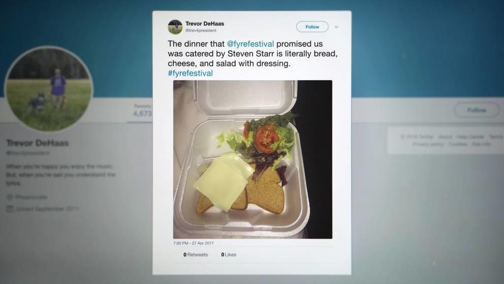 Dieser Tweet wurde 2017 berühmt: Statt Nobelküche gab es Stulle.