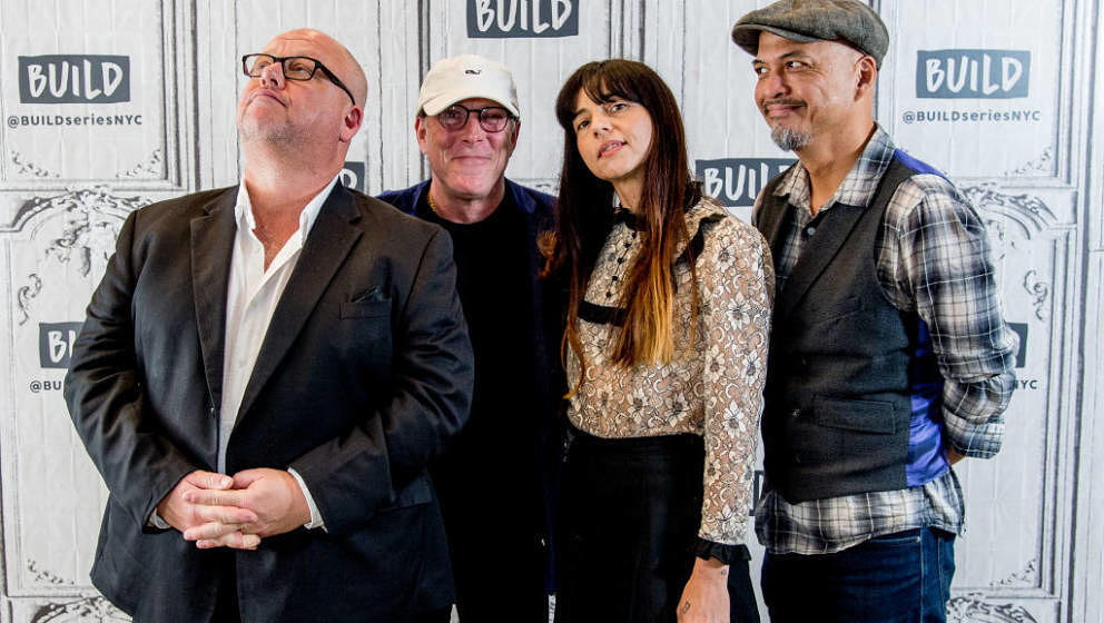 NEW YORK, NY - MAY 24:  (L-R) Black Francis, David Lovering, Paz Lenchantin, and Joey Santiago of the Pixies discuss 'Head Ca