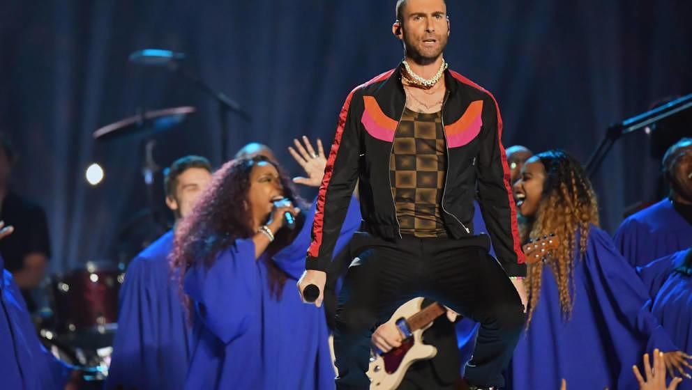 ATLANTA, GA - FEBRUARY 03:  Adam Levine of Maroon 5 performs during the Pepsi Super Bowl LIII Halftime Show at Mercedes-Benz