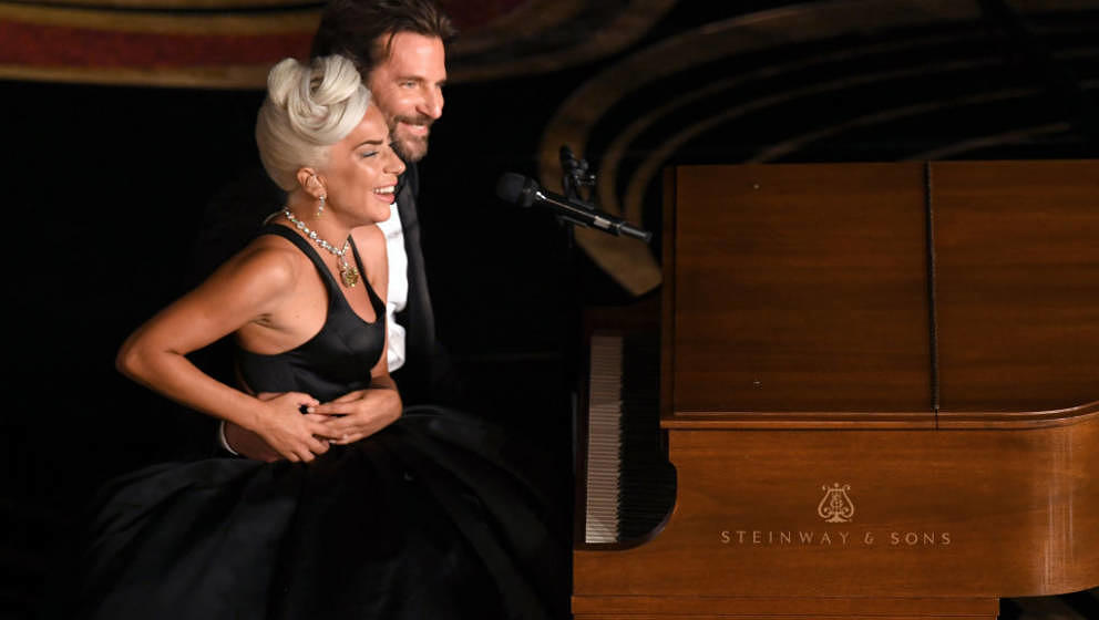 HOLLYWOOD, CALIFORNIA - FEBRUARY 24: (L-R) Lady Gaga and Bradley Cooper perform onstage during the 91st Annual Academy Awards
