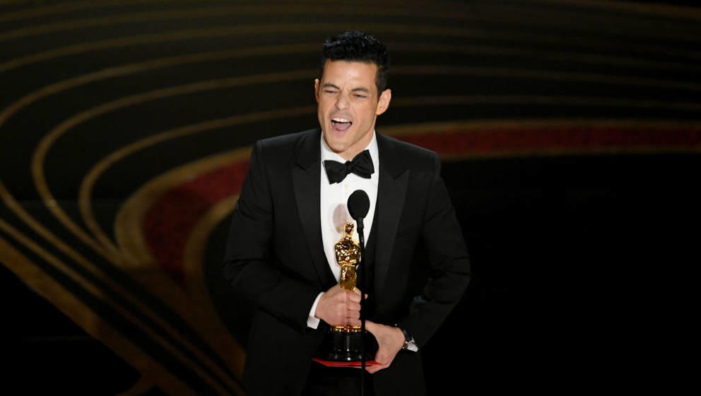 HOLLYWOOD, CALIFORNIA:  (EDITORS NOTE: Retransmission with alternate crop.) Rami Malek accepts the Actor in a Leading Role aw