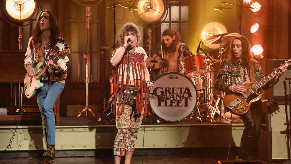 SATURDAY NIGHT LIVE -- 'Rachel Brosnahan' Episode 1756 -- Pictured: Musical guest Greta Van Fleet performs on Saturday, Janua