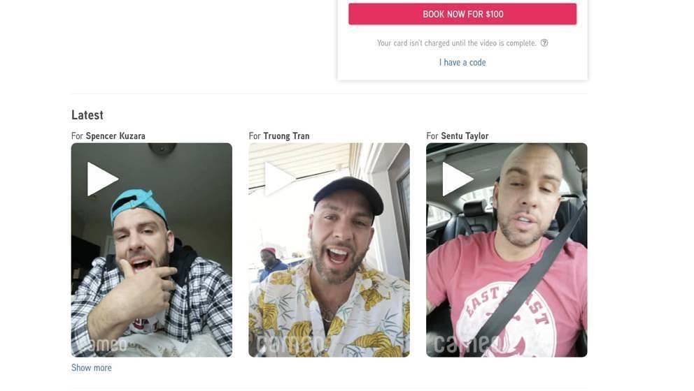 Screenshot Cameo.com