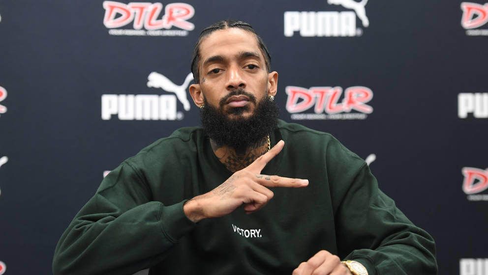 ATLANTA, GA - FEBRUARY 25:  Rapper Nipsey Hussle attends his 'Victory Lap' CD Signing at DTLR on February 25, 2018 in Decatur
