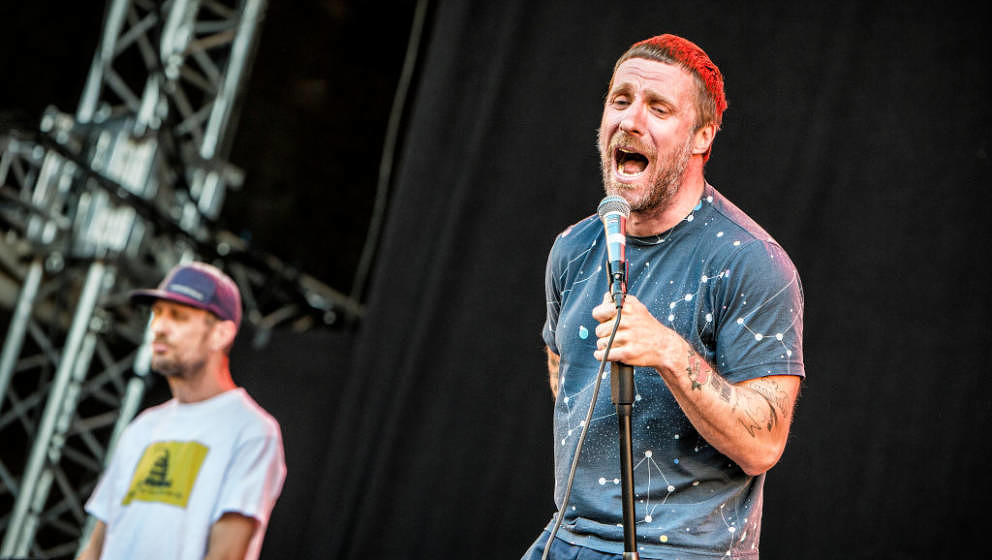 Norway, Oslo - August 09, 2018. The English punk duo Sleaford Mods performs a live concert during the Norwegian music festiva