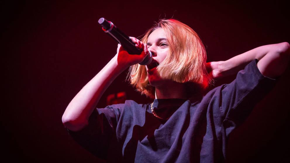 Denmark, Copenhagen - March 23, 2018. The Austrian rapper and singer Mavi Phoenix performs a live concert at Forum in Copenha