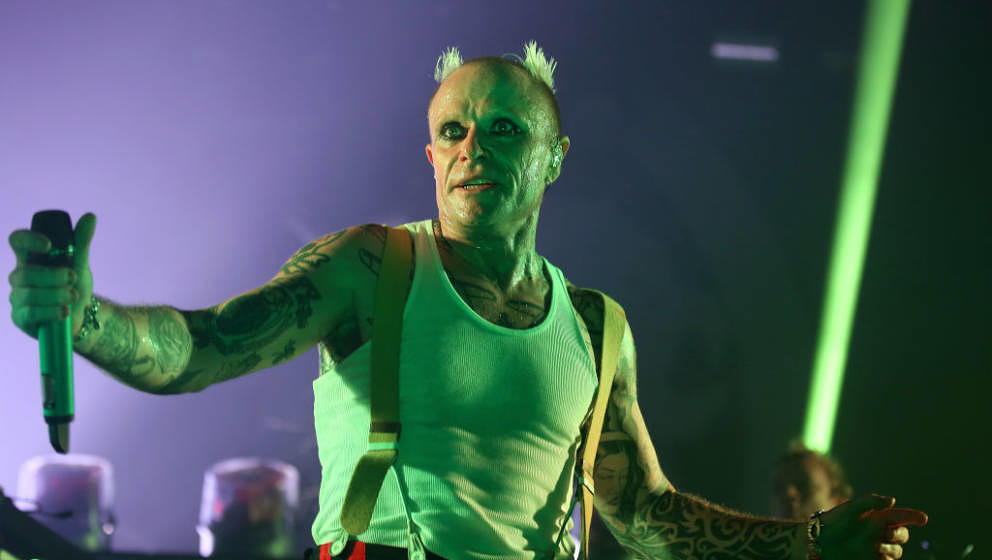 LONDON, ENGLAND - DECEMBER 21:  (EDITORIAL USE ONLY)  Keith Flint of The Prodigy perform live on stage at O2 Academy Brixton