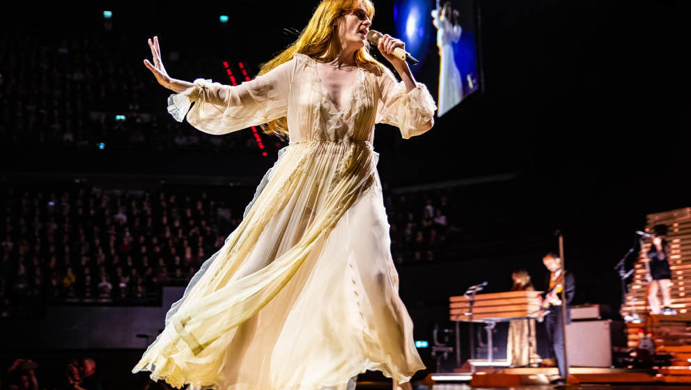 Lead singer Florence Welch of British indie rock band Florence and the Machine performs on stage at Ahoy, Rotterdam, Netherla