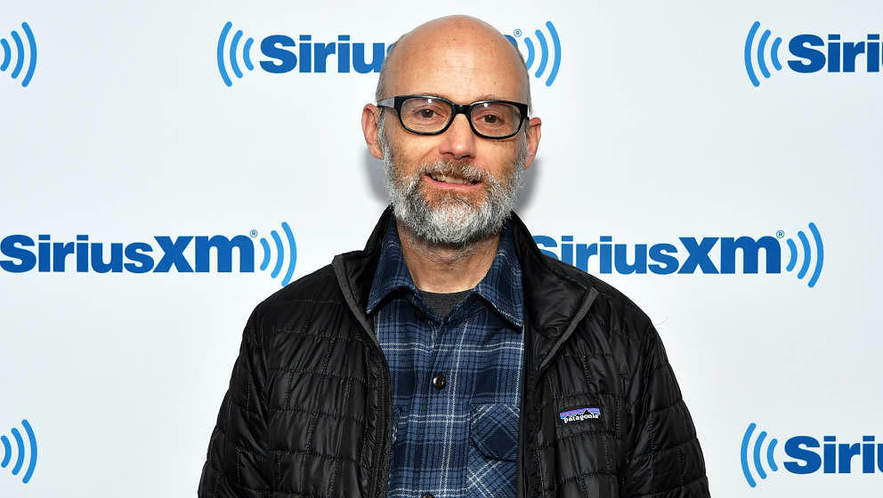 NEW YORK, NY - MAY 13:  (EXCLUSIVE COVERAGE) Musician/DJ Moby visits SiriusXM Studios on May 13, 2019 in New York City.  (Pho