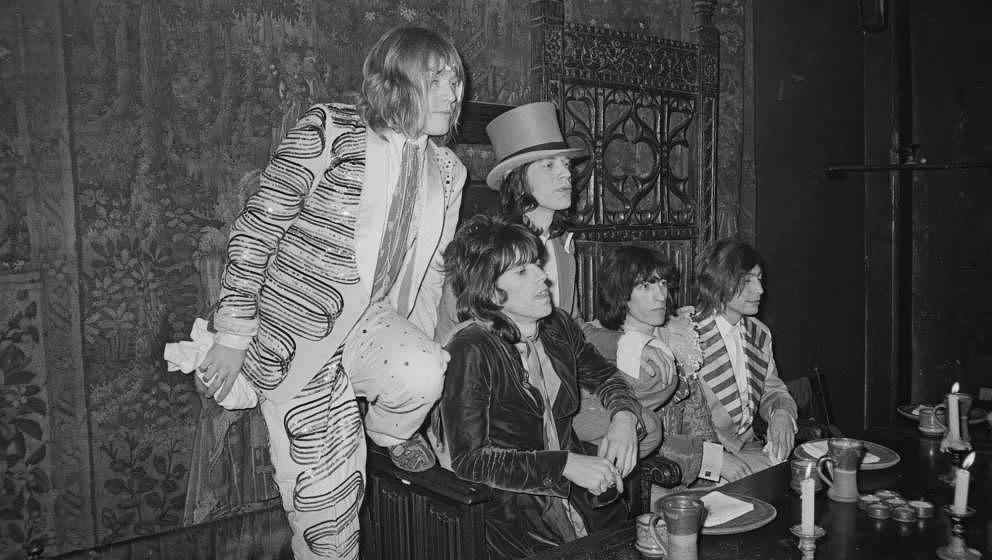 """The Rolling Stones auf der Launchparty ihres Album """"Beggars Banquet"""" am 5. Dezember 1968 im Londoner Kensington Hotel"""
