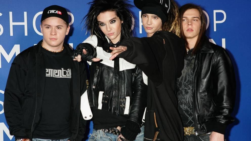Tokio Hotel im Jahr 2006: Georg Listing, Bill Kaulitz, Tom Kaulitz und Gustav Schaefer bei den World Music Awards in London