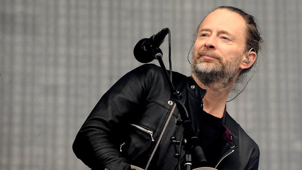 MANCHESTER, ENGLAND - JULY 04:  Thom Yorke of Radiohead performs at Emirates Old Trafford on July 4, 2017 in Manchester, Engl