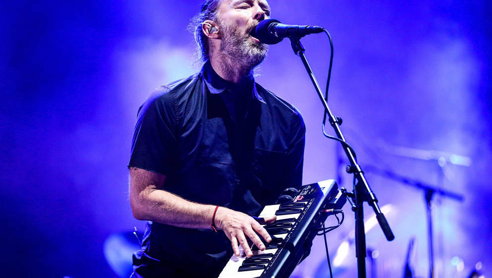INDIO, CA - APRIL 21:  Musician Thom Yorke of Radiohead performs on the Coachella Stage during day 1 of the 2017 Coachella Va