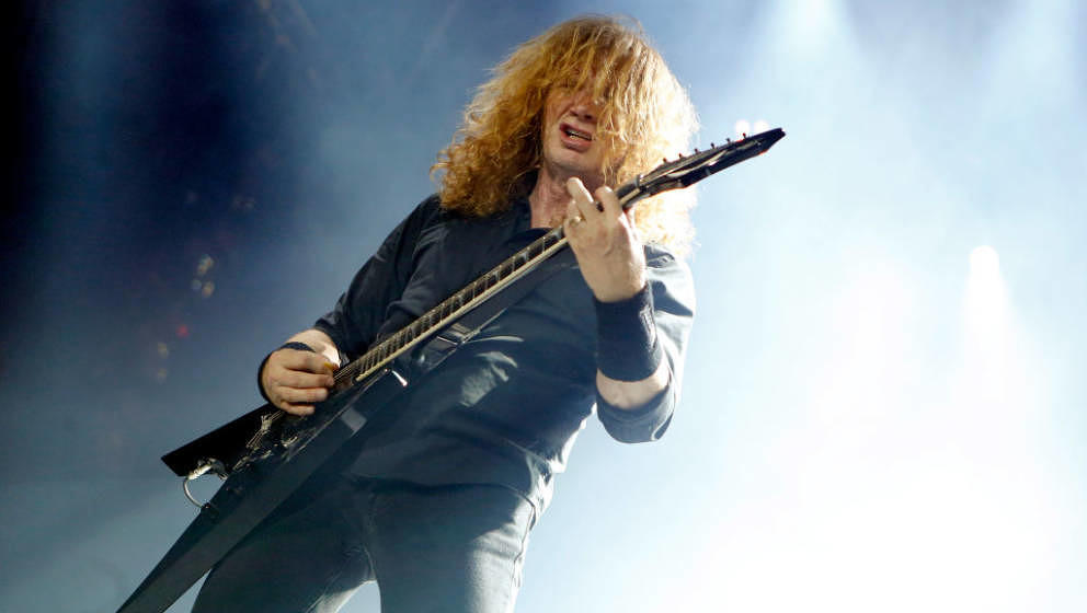 LONDON, ENGLAND - JUNE 16:  Dave Mustaine of Megadeth performs during the Stone Free Festival at The O2 Arena on June 16, 201
