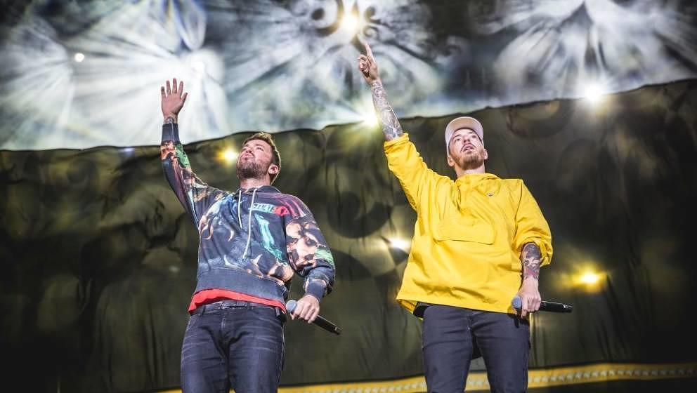 NUERBURG, GERMANY - JUNE 09: German rapper Marten Laciny aka Marteria and Benjamin Griffey aka Casper perform live on stage d