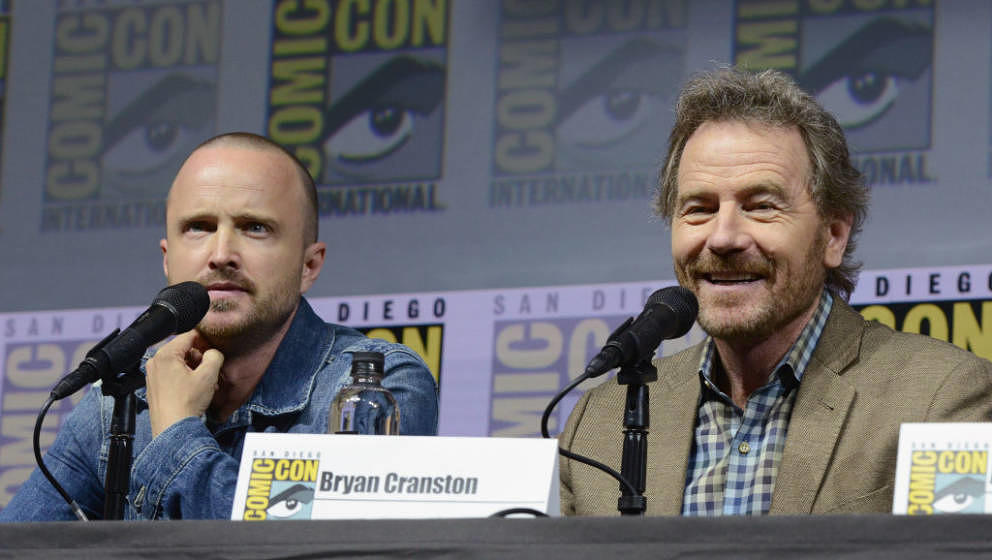SAN DIEGO, CA - JULY 19:  Aaron Paul (L) and Bryan Cranston speak onstage during the 'Breaking Bad' 10th Anniversary Celebrat