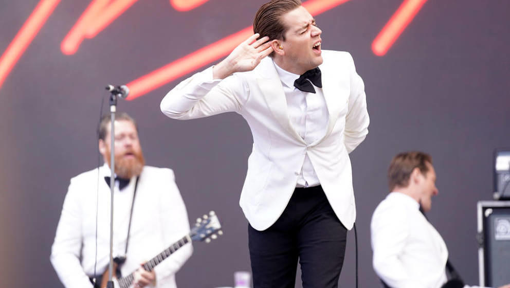 SANTIAGO DE COMPOSTELA, SPAIN - JUNE 15: Pelle Almqvist, vocalist of The hives performs during O Son do Camino Festival on Ju