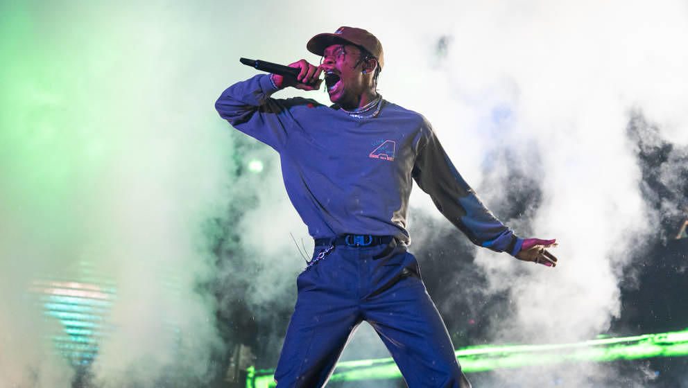 LONDON, ENGLAND - JULY 06: Travis Scott performs on stage during Wireless Festival 2019 on July 06, 2019 in London, England.