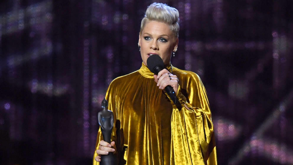 LONDON, ENGLAND - FEBRUARY 20: (EDITORIAL USE ONLY) Pink receives the Outstanding Contribution to Music Award during The BRIT