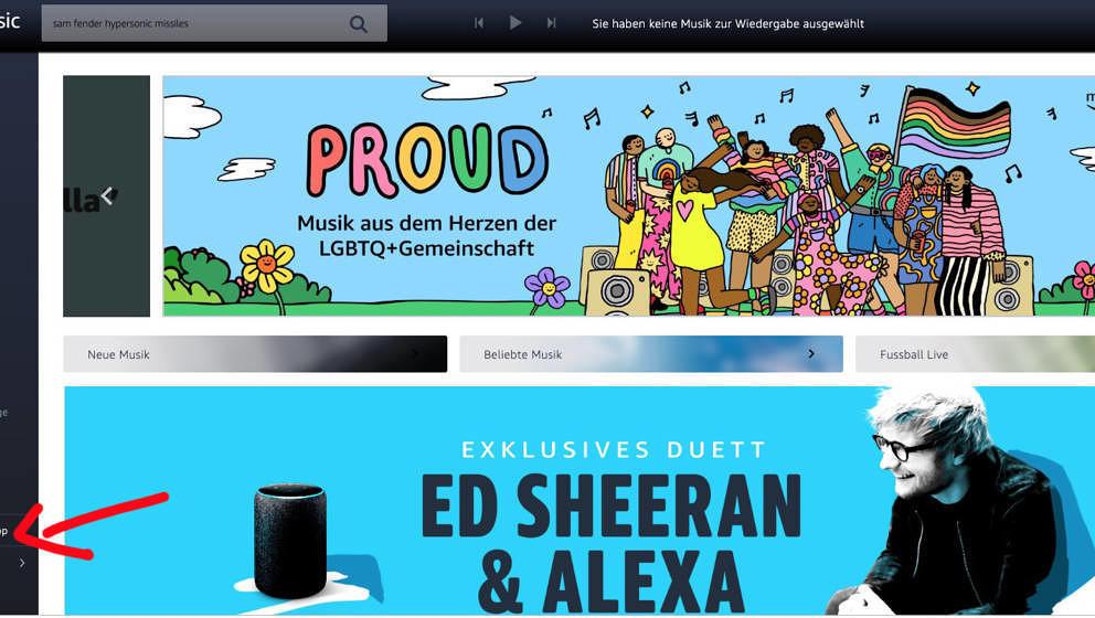 Folgt dem Pfeil, wenn Ihr Euer Amazon-Music-Abo kündigen wollt