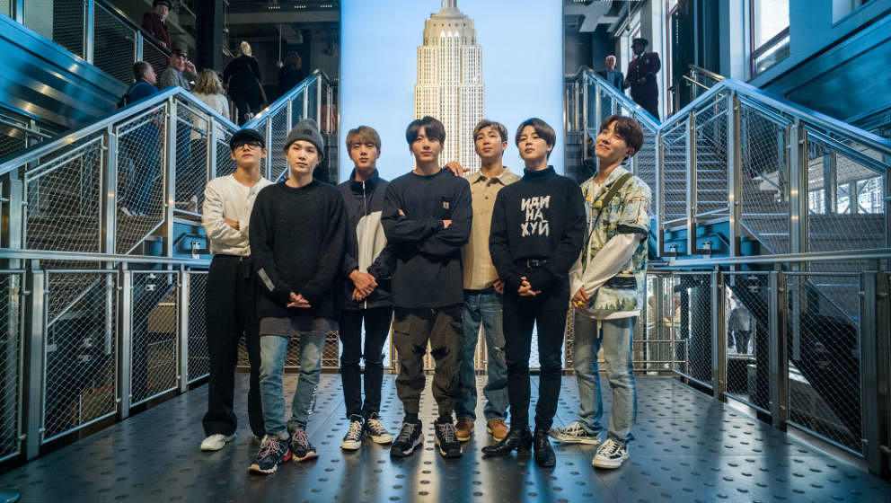 NEW YORK, NY - MAY 21: (EXCLUSIVE COVERAGE)   V, Suga, Jin, Jungkook, RM, Jimin, and J-Hope of the K-Pop Group BTS visit The