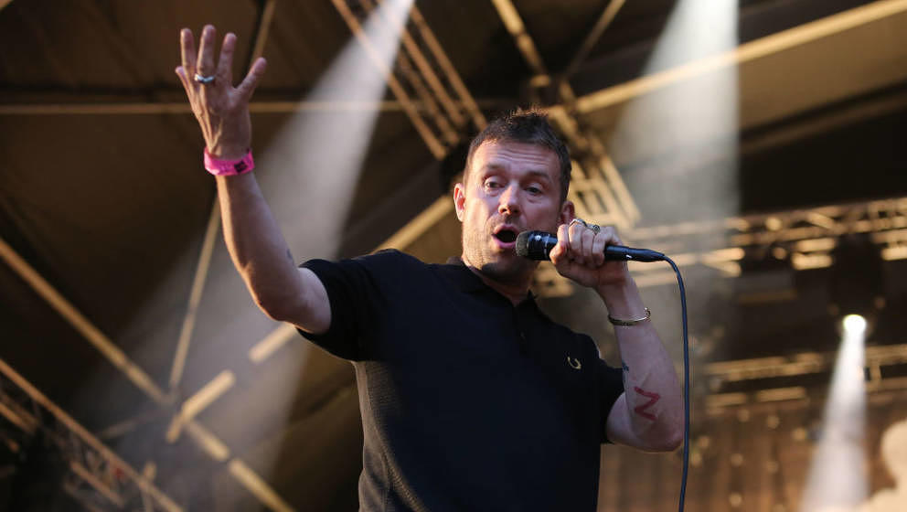 LONDON, ENGLAND - JULY 17: Damon Albarn of The Good, The Bad & The Queen performs on stage as part of the Summer Series a