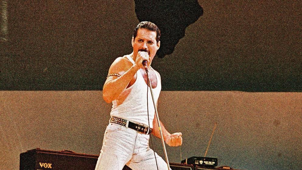 Freddie Mercury während des Queen-Auftritts im Londoner Wembley-Stadion beim Live-Aid-Auftritt am 13. Juli 1985