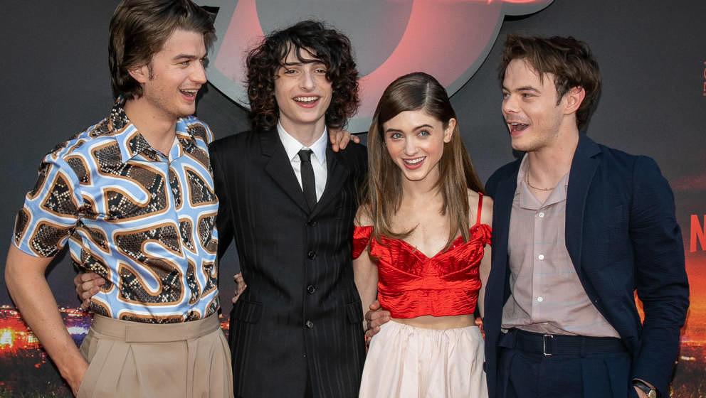 PARIS, FRANCE - JULY 04: (L-R) Actors Joe Keery, Finn Wolfhard, Natalia Dyer and Charlie Heaton attend the Premiere Of Netfli