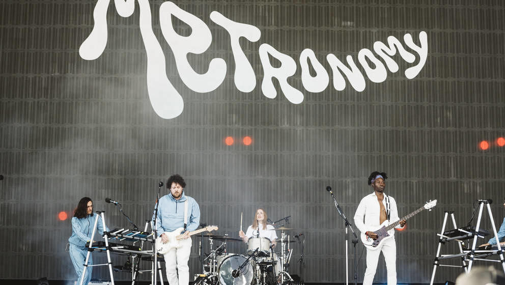 MADRID, SPAIN - JULY 10: Joseph Mount (2L), Anna Prior (3L) and Olugbenga Adelekan (1R) of Metronomy perform on stage during